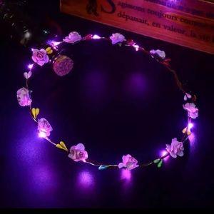 Pink LED Light Up Festival Wreath Headband